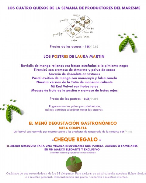 Menu Primavera 2021 restaurant El Nou-Cents Mataró (Maresme)