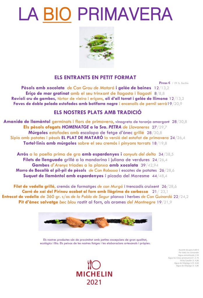 Restaurant el nouce-cents Mataró carta primavera 2021