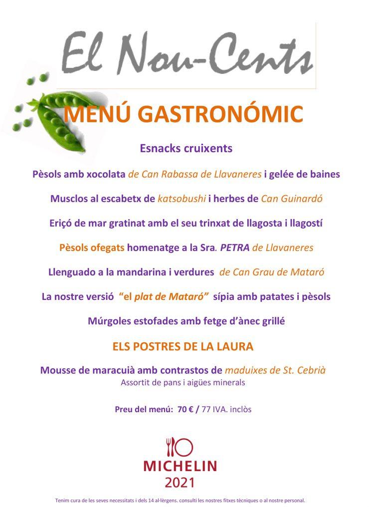 Restaurant el nouce-cents Mataró menu gastronimic primavera 2021